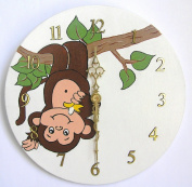 Nursery Monkey Wall Clock, Nursery Monkey Wall Hanging Clock, Nursery Clock, Nursery Wall Clock