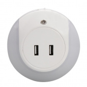 LED Night Light with Light Sensor + Dual USB Charge Port, All in One Wall Charger