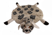 Silk Road Bazaar Sheep Rug, White, Black/Grey