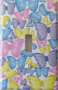 Butterfly Light Switch Plate Covers / Single Toggle / Butterflies in Pink, Blue, Purple, and Yellow