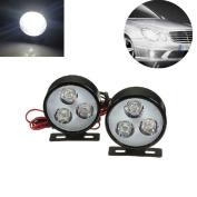 Sannysis 2x Car 3LED 6W Round DRL Daytime Running Driving Fog Light Lamp Bulb