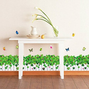 Dnven (130cm w X 38cm h) Green Grasses Blossoms Flowers Fences with Butterlies Baseboard Stripe Border Wall Decals, Bedrooms Children Rooms Decals Removable Wall Stickers Murals