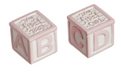First Tooth and Curl Pink Ceramic Keepsake Blocks - Set of 2
