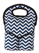 Navy Blue Chevron Double Baby Bottle Bag