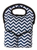 Navy Blue Chevron Double Baby Bottle Bag