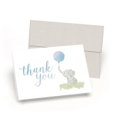 Beautiful Baby Shower Thank You Cards (Set of 10 Cards + Envelopes) - Watercolour Elephant & Blue Balloon - By Palmer Street Press