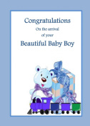 Baby Boy Train. A Beautiful new baby boy card from Ireland