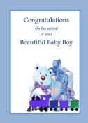 Baby Boy Train. A Beautiful new baby boy card from Ireland