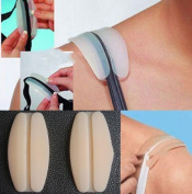 4 Pads Bra Strap Cushions Made of Hypoallergenic Non-slip Soft Silicone - Reusable Shoulder Protectors Two Translucent White and Two Light Skin Colour - Ideal for Bra Straps up to 2.5cm Wide