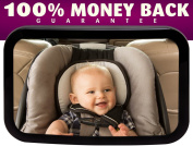 ★SALE★ Baby Mirror for Back Seat By Mike N' Jack - For Rear Facing Baby in Back Seat - Keeps Your Baby Safe and in View At All Times - Easily Secures to Headrest, Fully Adjustable, Large Shatter Proof Mirror & High Quality - Best  ..