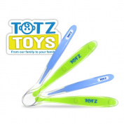 "Totz Toys ""Feed Easy"" Baby Spoon Starter Pack (Includes Both Stage 1 & 2 Spoons!) - Perfectly Shaped to Make Feeding Time Easier - BPA Free, Dishwasher Safe, Hypo-Allergenic - Our Flexible Material is Kind to Your Baby's Gums - The Only Spoons You'll E .."
