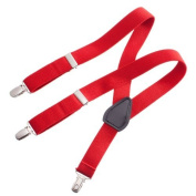 Clips N Grips Child Baby Toddler Kid Adjustable Elastic Suspenders Y Back Design, Red, 60cm