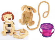 Goldbug Animal 2 in 1 Harness Twin Pack with Free Snack Cup, Lion/Dog