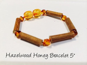 Hazelwood 5.5 - 6 Inch Bracelet Brown Honey Yellow individual knotted Baltic Amber Bracelet for babies baby infant toddler bub for Gut issues; Eczema, Colic, Reflux, GERD, heartburn, and ulcers. 100% Satisfaction Guaranteed. 15 cm 6 inches Hazel wood