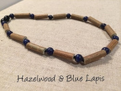 Blue Lapis Lazuli Hazelwood Necklace for babies baby infant toddler bub for Gut issues; Eczema, Colic, Reflux, GERD, heartburn, and ulcers. 100% Satisfaction Guaranteed. 33-34 cm Hazel Wood Lapis helps with