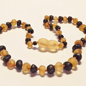 Genuine Raw Unpolished Honey Cherry Two Toned Coloured Baltic Amber Baby Teething Necklace by Nature's Calm(TM) 30cm *Safety Knotted*Screw Closure*