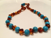 Baltic Amber Turquoise Cognac Teething Necklace for baby, Infant, Toddler, Bub, Big Kid, unisex girl boy adorable, Christening, Christmas, Gift, one of a kind authentic and certified, pure amber genuine, maximum effective
