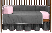 Baby Doll Solid Reversible Crib Bedding Set, Grey/Pink
