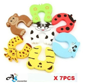 A & S Creavention Animal Foam Door Stopper Cushion Children Safety Finger Pinch 7PCS Set