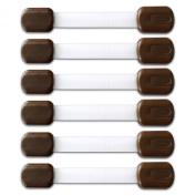 BabyKeeps Adjustable Child Safety Locks - Latches to Baby Proof Cabinets, Drawers, Fridge, Oven, Dishwasher, Toilet Seat - Keep Your Baby and Toddler Safe - Childproof Your Home in Style - Chocolate Brown - 6 Pack