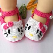 Baby Newborn Infant Girls Crochet Knit Socks Sandals Toddler Shoes Prewalker (Rose Red KT) by COFFLED
