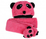 ACEFAST Children Hat 100% Wool Hat+Scarf Two Piece Set Panda Children Animal Cap