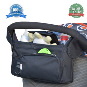 Stroller Organiser by BabyKidz® ★ #1 PREMIUM High Quality Designed, Smart Storage Solution ★ NEW Eco-Friendly Black RIPSTOP® Fabric, Innovative Compartments & Insulated Spill-Proof Cup Holders! ★ The Most  ..