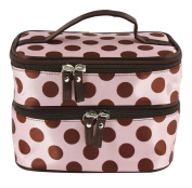 niceeshop(TM) Pink Double Layer Coffee Polka Dot Cosmetic Bags Toiletry Handbag with 4 Zipper