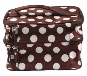 niceeshop(TM) Unique Dots Pattern Double Layer Cosmetic Bag-Coffee & White