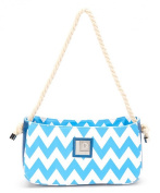 Recycled Cheveron Pattern Shoulder Bag Blue and White
