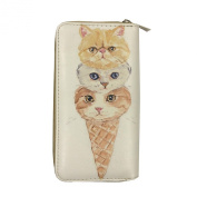 Digital Print (Double Face) Single Zipper Wallet - Kitten