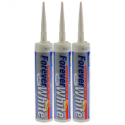 EVERBUILD PACK OF 3 300ML FOREVER WHITE SILICONE SEALANT ADHESIVE DIY GLUE TOOL