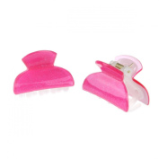 Girls Cute a pair of Shiny Glitter Effect 4cm Hair Grip Claws, Fuchsia
