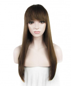 IMSTYLE Yaki Straight Synthetic Hair Wig with Bang 50cm #8/10 the Bottom is All One Length Brown