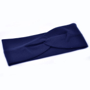 Women Stylish Wide Knot Plain Hair Headbands , Stretch Fabric Band, Navy