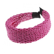 Women Vintage Mesh Glitter Plait Wide Plain Hair Aliceband, Fuchsia