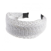 Women Vintage Mesh Glitter Plait Wide Plain Hair Aliceband, White