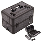 Justcaseusa All Black Interchangeable Easy Slide And Extendable Tray Diamond Pattern Professional Aluminium Cosmetic Makeup Case With Dividers, Brush Holder And Clear Bag - E3307