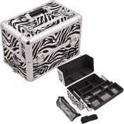 Casemetic White Easy Slide Tray Zebra Textured Printing Professional Aluminium Cosmetic Makeup Case With Brush Holder And Dividers - C3013