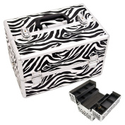 Justcase Zebra Textured Printing 2-Tiers Extendable Trays Professional Cosmetic Makeup Case With Dividers - Sh5004