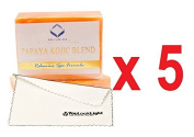 (Pack of 5)Relumins Triple Papaya Kojic Whitening Bar soap