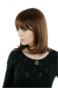 Prettyland - C260 Straight bangs straight streaked brown 40cm Mid-length Wig