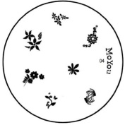 MoYou Nails Original Image Plate number 04 Nail Accessories Manicure Stamping Flower Design Nail Art Easy to Use on Gel or Natural Nails to Provide You Beautiful and Fashionable Nails