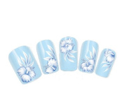 COME 2 BUY - NAIL ART TATOO/WRAP WATER TRANSFERS DECALS WHITE & BLUE HIBISCUS FLOWER FOR NAIL ART/CELL PHONE CASE/INVITATION CARDS DECORATIONS D.COR
