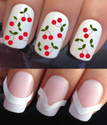 WATER NAIL TRANSFERS DECALS STICKERS ART SET #648 & 172. **plus x48 nail tip guides!!** x12 CHERRY STALKS GROUPS FRUIT CHERRIES TATTOO WRAPS & x48 FRENCH MANICURE TIP GUIDES! CAN BE USED WITH NATURAL GEL ACRYLIC STICK ON NAILS! OR WITH GLITTER DUST CAV ..