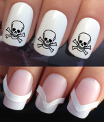 NAIL DECALS WATER TRANSFERS STICKERS ART SET #317 & 172. **plus x48 nail tip guides!!** x24 PIRATE SKULL & CROSSBONES TATTOO WRAPS & x48 FRENCH MANICURE TIP GUIDES! CAN BE USED WITH NATURAL GEL ACRYLIC STICK ON NAILS! OR WITH GLITTER DUST CAVIAR BEADS ..