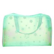 Meta-U PVC Floral Print Translucent Waterproof Toiletry Bag
