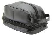 GENUINE LEATHER LARGE TRAVEL OVERNIGHT WASH GYM TOILETRY BAG / SHAVING BAG (BLACK) - 3530