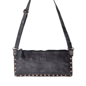 Women's shoulder bag washed leather studs and strap DUDU Black Slate