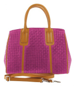 CTM bag Woman Hand and Shoulder Strap, Braided Effect, 33cm x 23cm x 1.5m, Genuine leather 100% Made in Italy